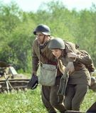 Воинским историческим подвиг reenactment забытый ` Во-вторых ` армии удара стоковая фотография