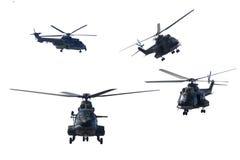 4 воинских вертолета делая демонстрации Стоковые Фотографии RF