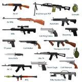 Воинское оружие комплекта, автоматических и руки оружия в бочонке кассеты с пулями для shoting защиты или собрания войны иллюстрация вектора