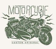 Воинской печать футболки sidecar whith мотоцикла нарисованная рукой бесплатная иллюстрация