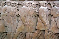 воины в марше к войне Стоковое Изображение