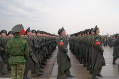 воины русского в марше Стоковая Фотография