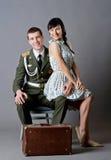 Воин и девушка Стоковое Фото