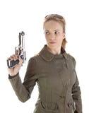 воин удерживания пушки девушки Стоковое Изображение
