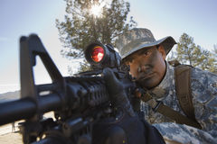Воин указывая винтовка Стоковые Фото