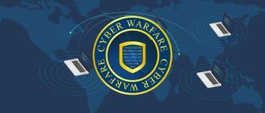 Война войны кибер иллюстрация вектора