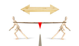 война гужа 2 люд вытягивают веревочку в различных направлениях Стоковые Изображения