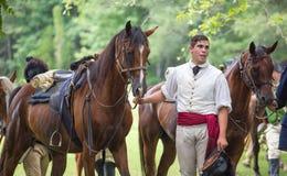 Война за независимость в США Reenactor и лошадь Стоковые Изображения