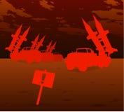 война красного цвета реактивного снаряда Стоковое Изображение RF
