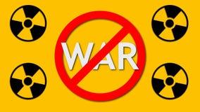 Война текста за знаком запрета и радиоактивной предпосылкой знака 4, опасности и безопасности, 3d представляет фон иллюстрация вектора