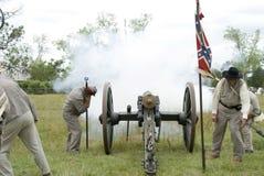 война reenactment canon взрыва гражданское Стоковое Изображение RF