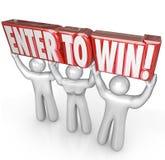 Войдите в для того чтобы выиграть победителя состязания слов людей поднимаясь Стоковое Изображение RF