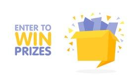 Войдите в для того чтобы выиграть подарочную коробку призов Иллюстрация стиля origami шаржа Стоковые Изображения RF