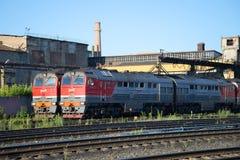2 вокзал Рыбинск депо тепловоза 2TE116 перевозки локомотивный Стоковое Фото