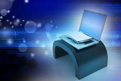 вокруг габарита принципиальной схемы e стрелки голубого внутри белизны символа листа почты Современные компьтер-книжка и конверт Стоковое Изображение