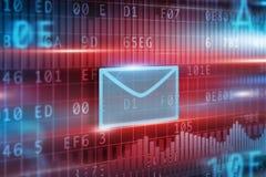 вокруг габарита принципиальной схемы e стрелки голубого внутри белизны символа листа почты Стоковое Изображение RF