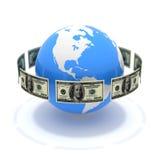 вокруг глобуса долларов Стоковые Изображения RF