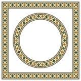 Вокруг и квадратные этнические геометрические рамки Стоковое Изображение