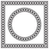 Вокруг и квадратные этнические геометрические рамки Стоковые Фотографии RF