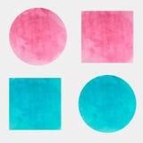 Вокруг и квадратные предпосылки акварели вектора голубой и розовый цвет Стоковое фото RF