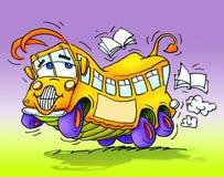 вокруг книг повезите школу на автобусе танцы счастливую Стоковая Фотография