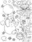 вокруг летания новичка улья медведя воздушного шара Иллюстрация штока