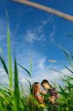 вокруг природы пар играя детенышей Стоковая Фотография RF