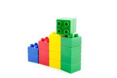 вокруг роста принципиальной схемы предпринимателей дела стрелки гигантского указывая вверх Пластичные строительные блоки Стоковая Фотография RF