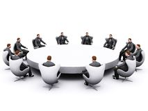 вокруг таблицы бизнесмена сидя стоковые изображения rf