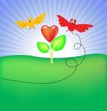 вокруг цветка птиц иллюстрация штока