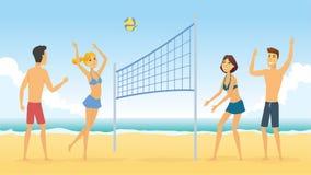 Волейбол пляжа - иллюстрация характера людей шаржа Стоковое Изображение