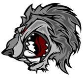 волк вектора талисмана логоса шаржа Стоковая Фотография
