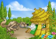 Волк 3 маленьких свиней большой плохой дуя вниз с дома иллюстрация штока
