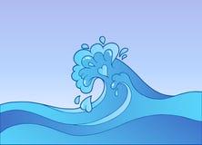 волна воды шаржа иллюстрация вектора