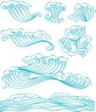 Волна китайского типа и элемент воды иллюстрация штока