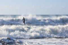Волна океана Северная Каролина силуэта серфера Стоковые Изображения
