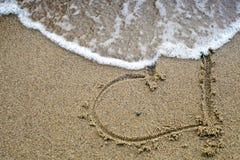 волна песка сердца Стоковые Изображения
