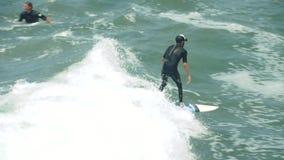 Волна серфера занимаясь серфингом на пляже Венеции, ЛА Калифорнии, замедленном движении сток-видео