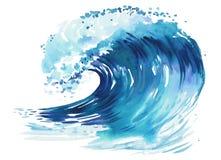 волна сильного волнения аварий Абстрактной иллюстрация акварели нарисованная рукой, изолированная на белой предпосылке Стоковое Изображение RF