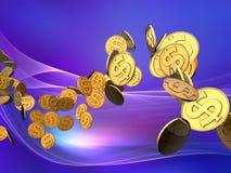 волна доллара золотистая Стоковая Фотография RF