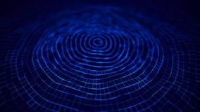 Волна 3d E накаляя абстрактная цифровая предпосылка частиц 3D r r иллюстрация вектора