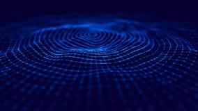 Волна 3d E накаляя абстрактная цифровая предпосылка частиц 3D r r бесплатная иллюстрация