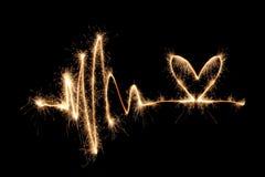 волна sparkler 2 сердец Стоковое Фото