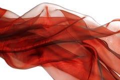 Волнистая красная ткань organza Стоковое фото RF