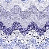 Волнистая сине-белая картина нарисованная вручную Печать точки польки в doodle иллюстрация вектора