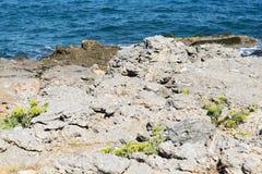 Волнистое скалистое побережье на острове Крита Стоковая Фотография