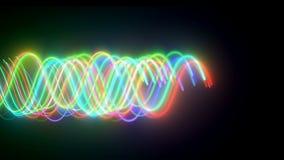 Волнистые неоновые lins в темном пространстве, компьютере произведенная современная абстрактная предпосылка, 3d представляют бесплатная иллюстрация