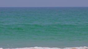 Волны бегут в песчаный пляж Индийского океана видеоматериал