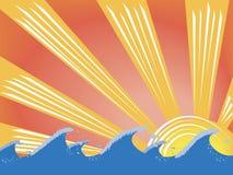 волны захода солнца Стоковая Фотография