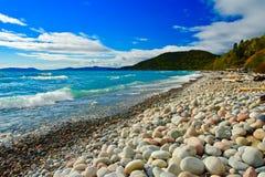 Волны & камни, марафон, Lake Superior, Онтарио Стоковое Изображение